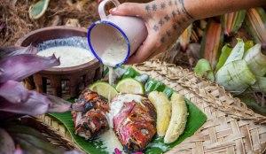 A typical Samoan spread: Fish, fa'alifu fa'i and coconut milk.